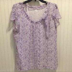 Worthington bow accent floral chiffon blouse